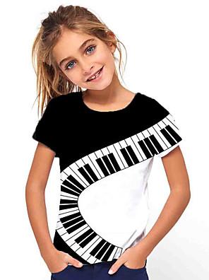 cheap Boys' Tops-Kids Girls' Basic Holiday Geometric  Piano pattern Print Short Sleeve Tee Black