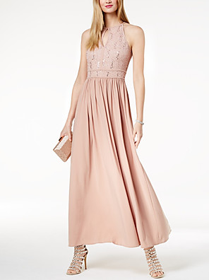 cheap Evening Dresses-A-Line Elegant Maxi Party Wear Prom Dress Halter Neck Sleeveless Ankle Length Chiffon with Sequin 2020