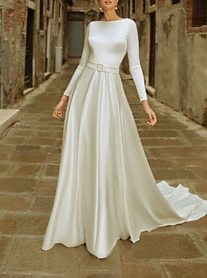cheap Wedding Dresses-A-Line Wedding Dresses Jewel Neck Chapel Train Satin Long Sleeve Simple with 2020