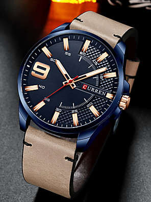 cheap Dress Classic Watches-CURREN Men's Dress Watch Quartz Modern Style Stylish Casual Water Resistant / Waterproof Leather Black / Brown / Khaki Analog - Black+Gloden Silver+Gray White+Golden One Year Battery Life / Japanese