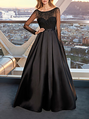 cheap Evening Dresses-A-Line Elegant Beautiful Back Wedding Guest Prom Dress Jewel Neck Long Sleeve Floor Length Satin Tulle with Pleats Beading 2020 / Illusion Sleeve