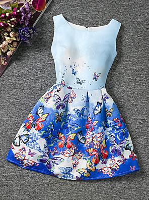 cheap Print Dresses-Kids Girls' Floral Going out Weekend Butterfly Print Sleeveless Dress Blue / Cotton