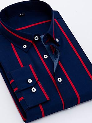 baratos Camisas Masculinas-Homens Camisa Social Listrado Blusas Negócio Básico Colarinho Com Botões Preto Azul Vermelho / Manga Longa / Trabalho