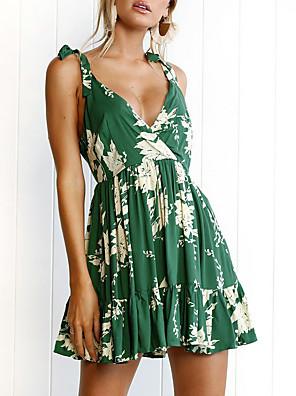 Χαμηλού Κόστους Για νεαρές γυναίκες-Γυναικεία Φόρεμα σε γραμμή Α Μίνι φόρεμα - Αμάνικο Φλοράλ Καλοκαίρι Σέξι 2020 Πράσινο του τριφυλλιού Τ M L XL