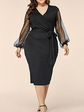 cheap Plus Size Dresses-Women's A-Line Dress Knee Length Dress - Long Sleeve Solid Color Summer Casual 2020 Black XL XXL XXXL