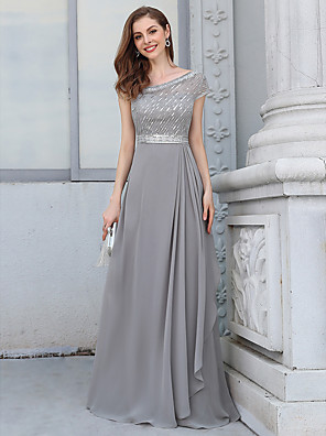 cheap Evening Dresses-A-Line Empire Vintage Wedding Guest Formal Evening Dress V Neck Short Sleeve Floor Length Chiffon with Sash / Ribbon Sequin 2020