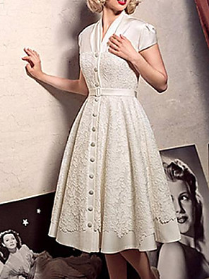 cheap Wedding Dresses-A-Line Wedding Dresses V Neck Knee Length Lace Short Sleeve Vintage 1950s with Sashes / Ribbons 2020