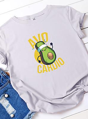 cheap Women's T-shirts-Women's T-shirt Letter Fruit Print Round Neck Tops 100% Cotton Basic Summer Wine White Black