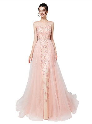 cheap Wedding Dresses-Mermaid / Trumpet Elegant Luxurious Engagement Formal Evening Dress Illusion Neck Sleeveless Court Train Tulle with Sash / Ribbon Crystals Appliques 2020