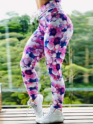 cheap Leggings-Women's High Waist Yoga Pants Leggings Butt Lift Quick Dry Rainbow Gym Workout Running Fitness Sports Activewear High Elasticity Skinny