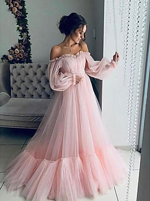 cheap Cocktail Dresses-A-Line Elegant Minimalist Engagement Prom Dress Off Shoulder Long Sleeve Floor Length Tulle with Pleats Appliques 2020