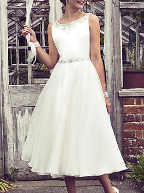 cheap Summer Dresses-A-Line Wedding Dresses Jewel Neck Knee Length Tulle Sleeveless Vintage 1950s with Beading 2020