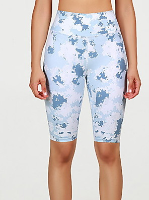 cheap Leggings-Women's Basic Legging Print Print Mid Waist Blue XS S M / Slim