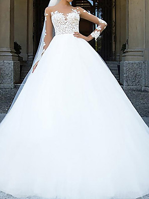 cheap Wedding Dresses-Ball Gown Wedding Dresses Sweetheart Neckline Chapel Train Lace Tulle Sleeveless Formal with Appliques 2020