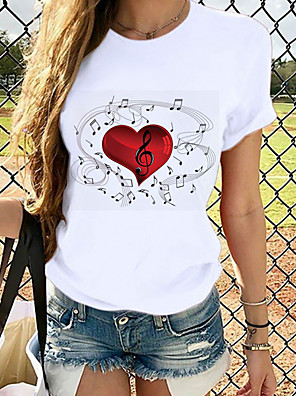 cheap Women's T-shirts-Women's T-shirt Graphic Prints Round Neck Tops Slim 100% Cotton Basic Top White