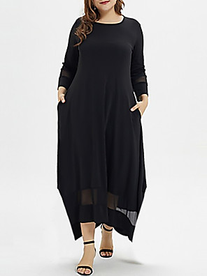 cheap Plus Size Dresses-Women's Plus Size A-Line Dress Maxi long Dress - Long Sleeve Solid Colored Casual Black XL XXL XXXL XXXXL XXXXXL