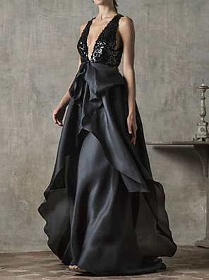 cheap Evening Dresses-A-Line Beautiful Back Sexy Engagement Formal Evening Dress V Neck Sleeveless Sweep / Brush Train Tulle with Sequin 2020