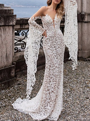 cheap Wedding Dresses-Mermaid / Trumpet Wedding Dresses Off Shoulder Court Train Lace Tulle Sleeveless Beach Sexy with Appliques 2020