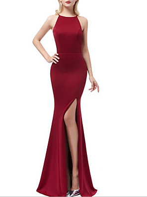 cheap Evening Dresses-Mermaid / Trumpet Elegant Minimalist Wedding Guest Formal Evening Dress Halter Neck Sleeveless Sweep / Brush Train Spandex with Split 2020
