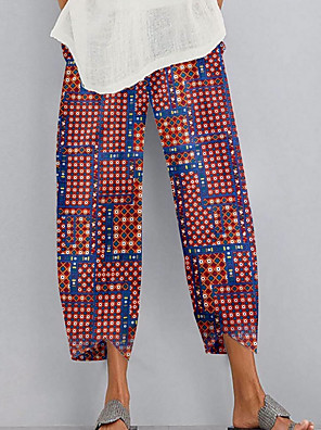cheap Plus Size Dresses-Women's Basic Chinos Pants - Print Quick Dry Blue Red Gray S / M / L