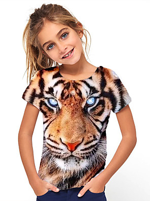cheap Boys' Tops-Kids Girls' Basic Holiday Tiger Short Sleeve Tee Yellow