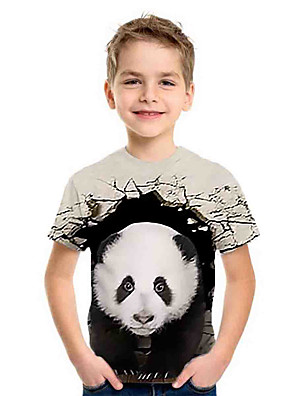 cheap Boys' Tops-Kids Boys' Sports & Outdoors Basic Holiday Panda Animal Print Short Sleeve Tee Gray