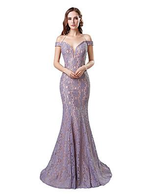 cheap Evening Dresses-Mermaid / Trumpet Elegant Minimalist Wedding Guest Formal Evening Dress Halter Neck Short Sleeve Sweep / Brush Train Lace with Lace Insert 2020