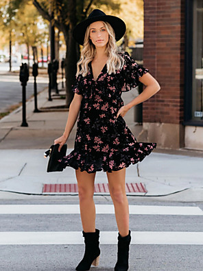 Χαμηλού Κόστους Μίνι Φορέματα-Γυναικεία Φόρεμα ριχτό Μίνι φόρεμα - Κοντομάνικο Φλοράλ Με Βολάν Καλοκαίρι Λαιμόκοψη V Σέξι Αργίες Διακοπές Flare μανίκι 2020 Μαύρο Τ M L XL