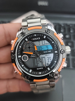 cheap Sport Watches-DIOUCE Men's Digital Watch Digital Sporty Stylish Casual Water Resistant / Waterproof Stainless Steel Silver Analog - Digital - Black / Silver Red+Silver Silver+Orange