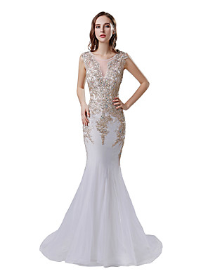 cheap Evening Dresses-Mermaid / Trumpet Elegant Glittering Engagement Formal Evening Dress Illusion Neck Sleeveless Court Train Tulle with Beading Appliques 2020