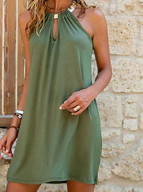 cheap Mini Dresses-Women's Shift Dress Short Mini Dress - Sleeveless Summer Sexy Vacation 2020 Blue Orange Green S M L XL XXL XXXL