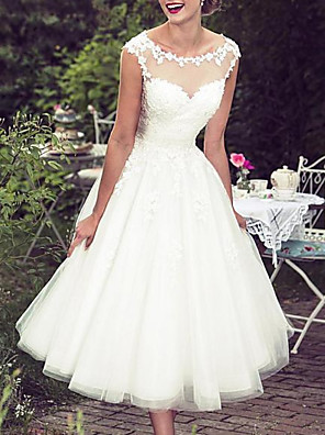 cheap Free Shipping-A-Line Wedding Dresses Jewel Neck Knee Length Lace Tulle Sleeveless Vintage 1950s with Appliques 2020