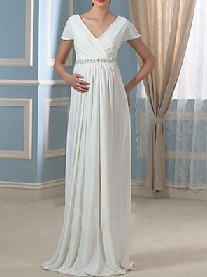 cheap Evening Dresses-Sheath / Column Wedding Dresses V Neck Sweep / Brush Train Chiffon Cap Sleeve Simple with Ruched 2020