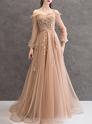 cheap Evening Dresses-A-Line Elegant Floral Engagement Formal Evening Dress Off Shoulder Long Sleeve Court Train Lace Tulle with Appliques 2020