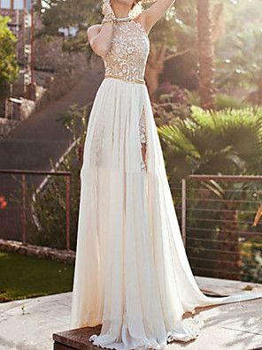 cheap Evening Dresses-A-Line Beautiful Back Sexy Engagement Formal Evening Dress Halter Neck Sleeveless Floor Length Chiffon Lace with Beading Split 2020