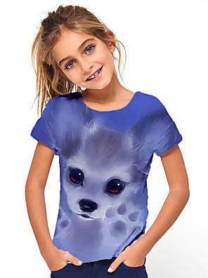 billige Pigetoppe-Børn Pige Basale Ferie Dyr Kortærmet T-shirt Blå