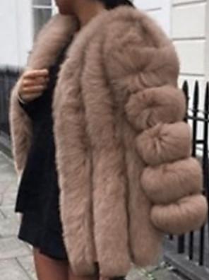 cheap Women's Fur & Faux Fur Coats-Women's Faux Fur Coat Daily V Neck Long Solid Colored White / Black / Blushing Pink S / M / L
