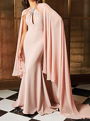 cheap Prom Dresses-Mermaid / Trumpet Elegant Beautiful Back Engagement Formal Evening Dress Halter Neck Sleeveless Sweep / Brush Train Chiffon with Sleek 2020