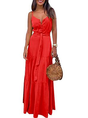 cheap Maxi Dresses-Women's Chiffon Dress Maxi long Dress - Sleeveless Solid Color Summer Casual Sexy 2020 Blue Red Yellow Green S M L XL XXL XXXL