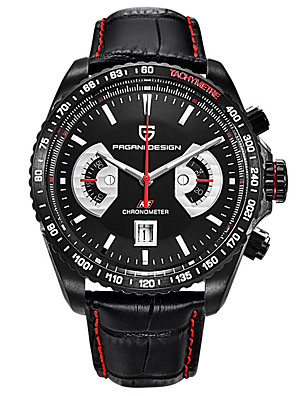 cheap Quartz Watches-PAGANI Men's Sport Watch Quartz Modern Style Stylish Casual Water Resistant / Waterproof Stainless Steel Leather Analog - Black / Silver White+Silver Black / Calendar / date / day