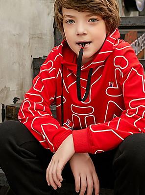 cheap Boys' Tops-Kids Boys' Street chic Geometric Long Sleeve Hoodie & Sweatshirt White