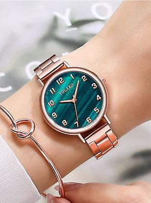 cheap Quartz Watches-Women's Steel Band Watches Quartz Classic Chronograph Rose Gold Analog - White Blue Red