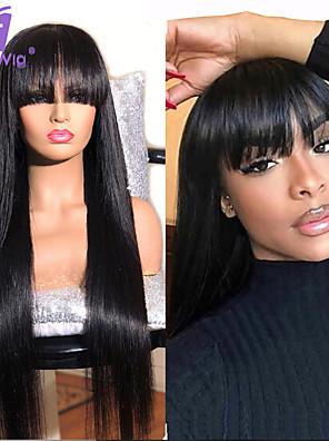 cheap Smart Watches-Human Hair 100% Hand Tied Wig Neat Bang With Bangs style Brazilian Hair Silky Straight Natural Black Wig 150% Density Women Medium Size Natural Hairline For Black Women Women's Long Medium Length
