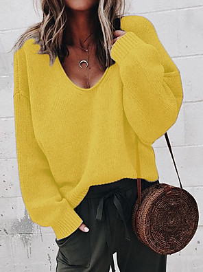 cheap Women's Tops-Women's Solid Colored Pullover Long Sleeve Loose Sweater Cardigans V Neck Black Yellow Khaki