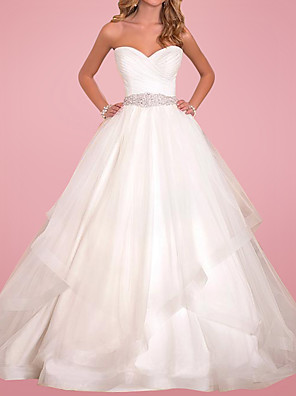 cheap Wedding Dresses-Ball Gown Wedding Dresses Sweetheart Neckline Court Train Tulle Sleeveless Formal with Sashes / Ribbons 2020