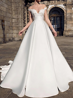 cheap Wedding Dresses-A-Line Wedding Dresses V Neck Court Train Lace Satin Sleeveless Formal with Appliques 2020