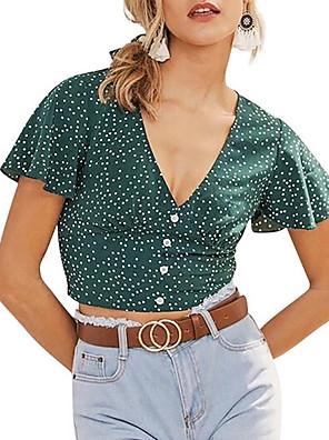 cheap Women's Blouses & Shirts-Women's Blouse Floral V Neck Tops Summer Green