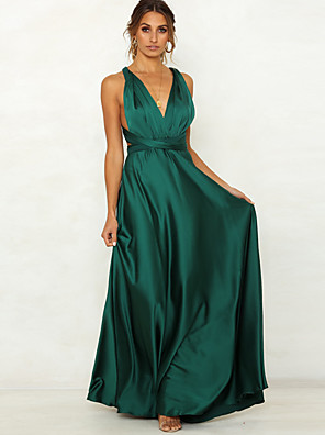 cheap Evening Dresses-Women's Sheath Dress Maxi long Dress - Sleeveless Solid Color Backless Summer Sexy Party 2020 Blushing Pink Green M L XL