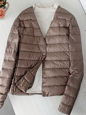 cheap Cocktail Dresses-Women's Down Parka Solid Colored White Duck Down Polyester Black / Blushing Pink / Wine M / L / XL / Slim