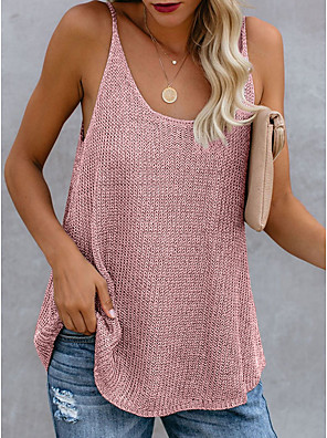 cheap Oversize Sweater-Women's Tank Top Color Block Round Neck Tops Cotton Summer White Blue Blushing Pink